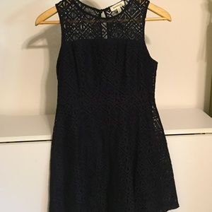 Navy Blue Size Med. Lace Dress Above Knee Cute!